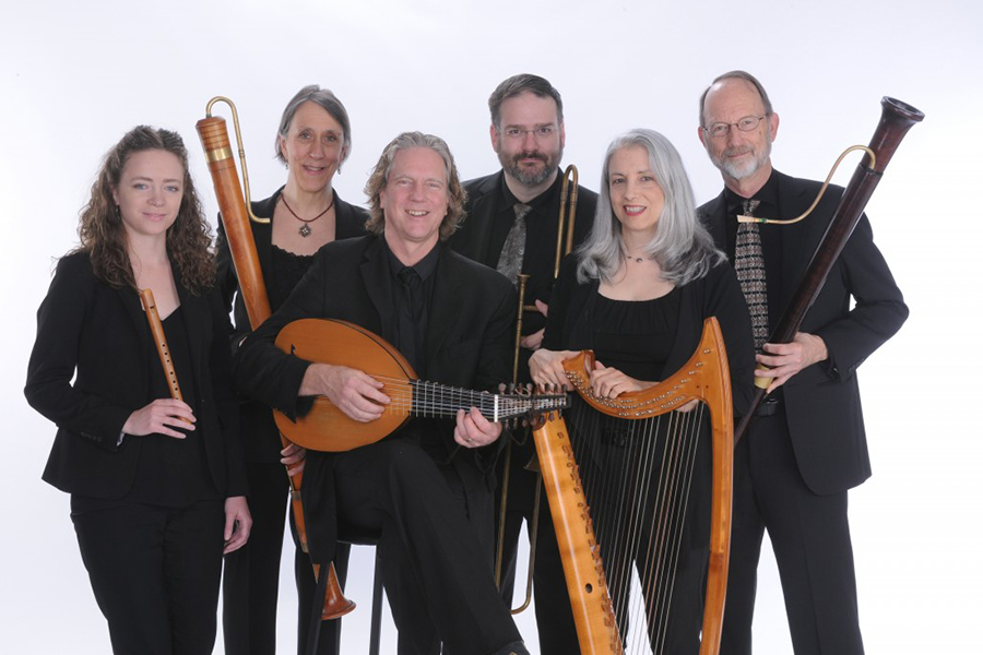 Portrait of PIffaro, The Renaissance Band posing with early music instruments